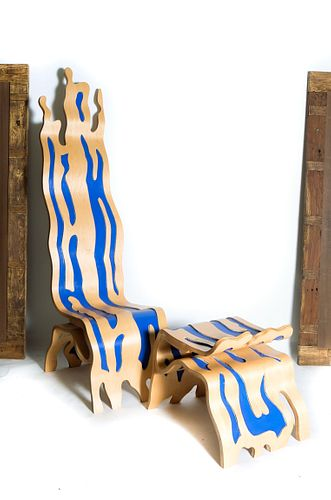 Manner of Lichtenstein Brushstroke Chair & Ottoman