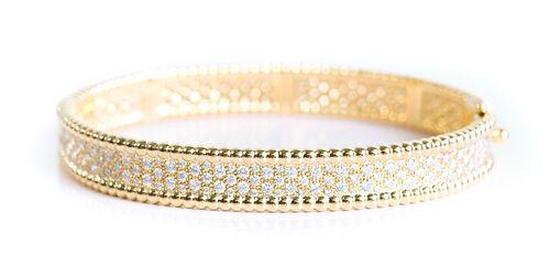 Attr. VCA 18K Perlee Pearls YG Bracelet w/Diamonds