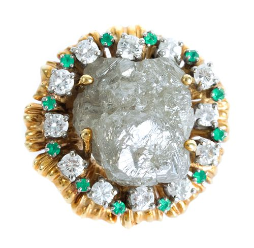 18K Rough Diamond w/Emerald & Diamond Ring