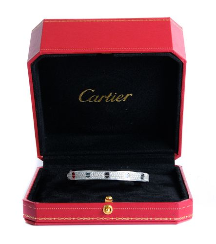 Attr. Cartier LOVE Bracelet 18K WG w/Diamonds