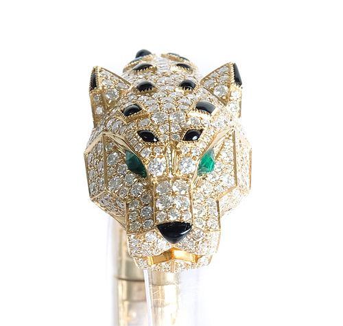 Attr. Cartier Panther 18K YG Diamond Cuff Bracelet