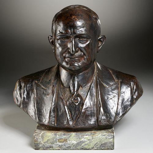 Jules Leon Butensky, bronze portrait bust, 1923