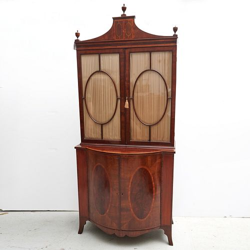 George III mahogany bow front bookcase cabinet
