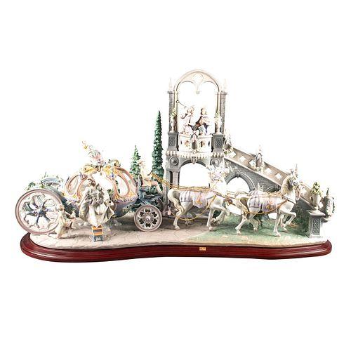 Lladro Lg Figural Group Sculpture, Cinderella'S Arrival 1785