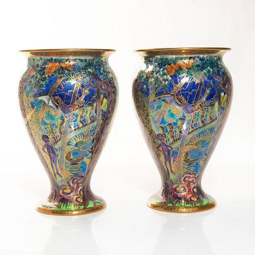 Pair Of Wedgwood Fairyland Lustre Vases, Woodland Elves Z5462