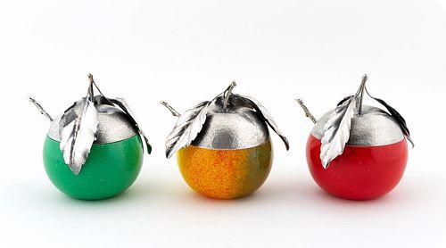 GROUP OF 3 BUCCELLATI STERLING FRUIT FORM JAM JARS