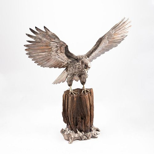 """BUCCELLATI STERLING SILVER FIGURE OF AN EAGLE, 28"""""""