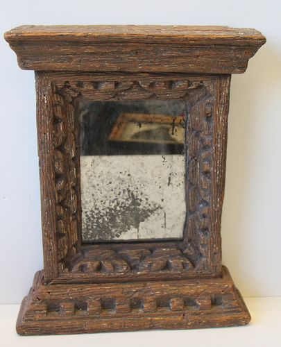 17/18 Century Carved Wood Italian Mirror