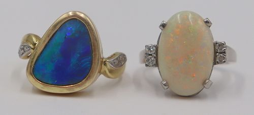 JEWELRY. (2) 14kt Gold and Opal Rings.