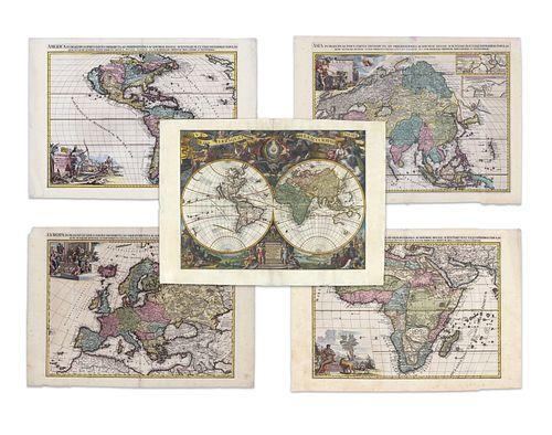 Aa, Pieter van der. World and continents (set)