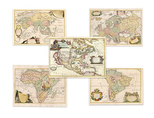 Coronelli, Vincenzo Maria. World and continents (set)