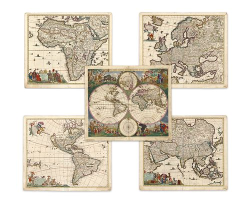 Wit, Frederick de. World and continents (set)