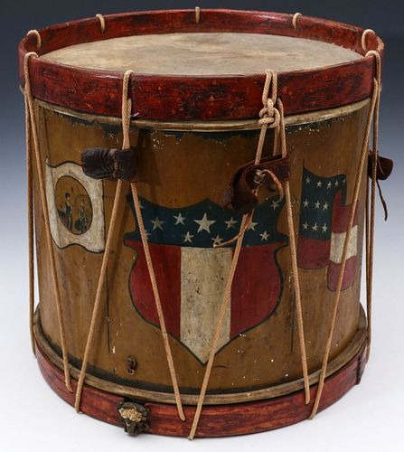 A PAINTED CIVIL WAR DRUM WITH SEAL OF NORTH CAROLINA