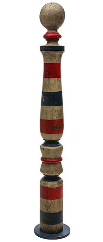 AN UPRIGHT 19TH C. BARBER POLE WITH HORIZONTAL BANDS