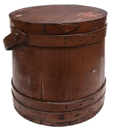 A LARGE 19TH C. FIRKIN IN OLD DARKENED SALMON PAINT
