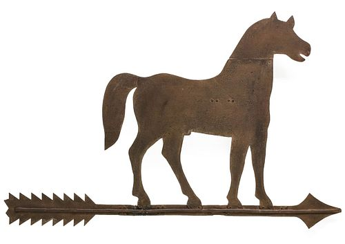AN OUTSTANDING LARGE FOLK ART IRON HORSE WEATHER VANE