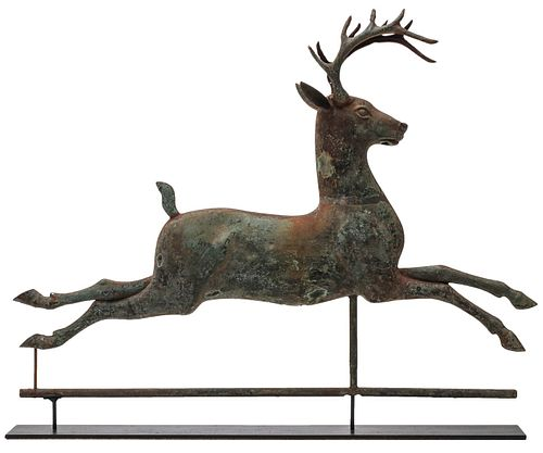 AN UNUSUAL RUNNING STAG 19TH C. COPPER WEATHER VANE