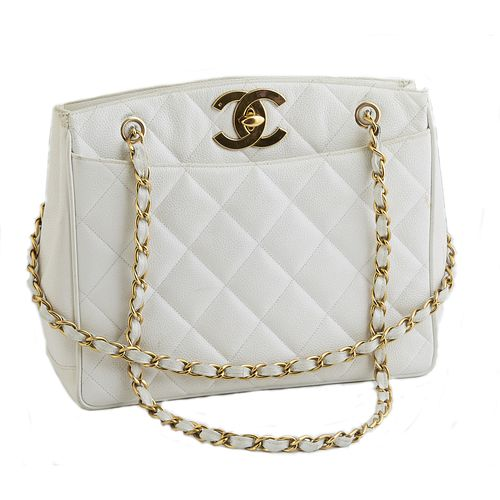 """Chanel White Caviar Quilted Leather Shoulder Bag, c. 1985, with gold tone chain-link woven leather double straps, the """"CC"""" turn-lock..."""