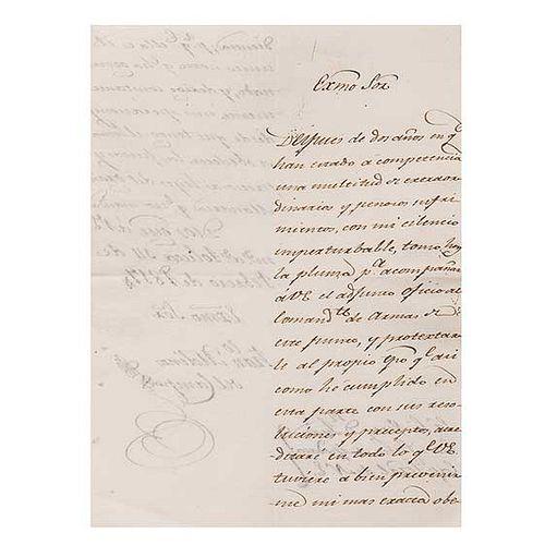 Molinos del Campo, Francisco. Carta dirigida al Virrey de la Nueva España Juan Cruz Ruiz de Apodaca. Méx, febrero 14 de 1817. Firma.