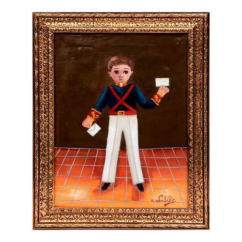 Agapito Labios. Niño uniformado con cartas. Firmado. Óleo sobre tela. Enmarcado. 43 x 37 cm
