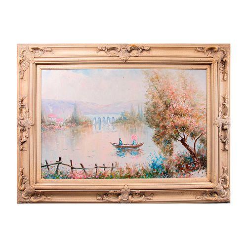 L. Bassett. Vista de lago. Firmado. Óleo sobre tela. Enmarcado.
