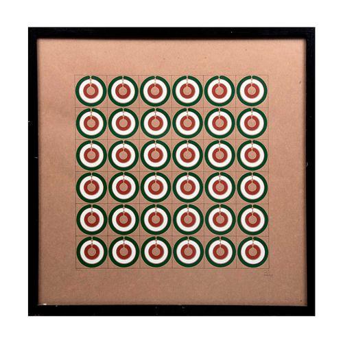 Ricardo Noriega. Sin título. Firmada y fechada 77. Serigrafía. Enmarcada. 37 x 37 cm