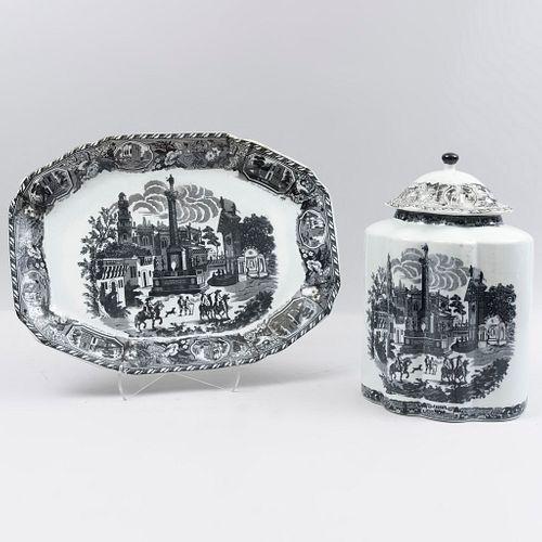 Charola y botámen. Siglo XX. Elaborado en semiporcelana tipo Victoria Ware. Decorados con paisajes arquitectónicos.