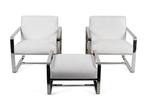 A Pair of Mitchell Gold Chromed Armchairs and Ottoman Chair, Height 29 1/2 x width 28 x depth 33 1/2 inches.