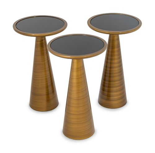 Three Mitchell-Gold Addie Pull Up Bronze Side Tables Height 22 x diameter 13 inches.