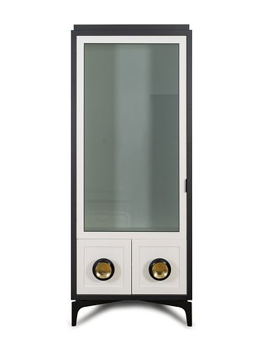 A Pair of Powell & Bonnell Black and White Lacquered Display Cabinets Height 82 x width 36 x depth 18 inches.