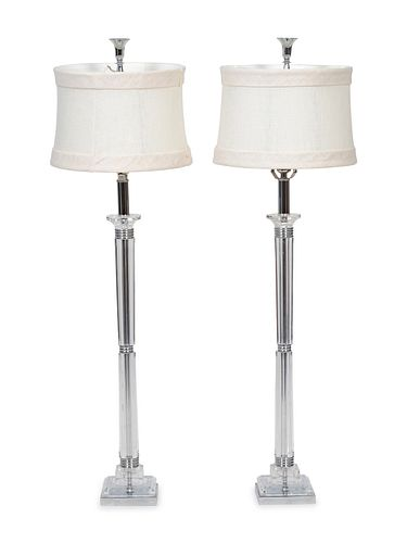 A Pair of Lucite and Chrome Based Table Lamps