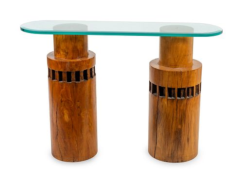 A Contemporary Carved Wood and Glass Top Console Table
