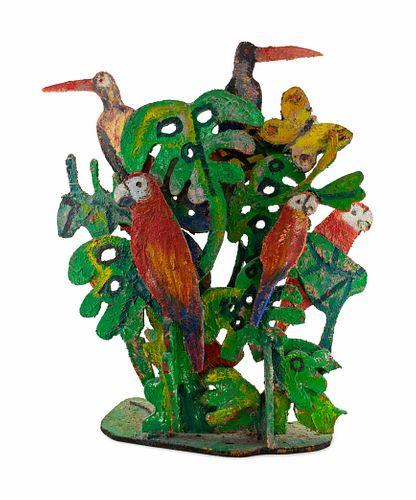 Hunt Slonem (American, b. 1951) Macaws & Butterflies in Trees