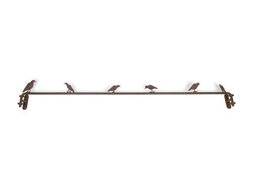 A Contemporary Patinated Bronze Bird-Form Curtain Rod