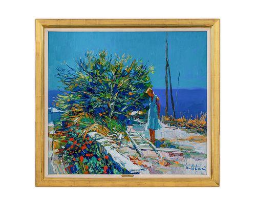 Nicola Simbari (Italian, 1927-2012) Woman on Sea Wall