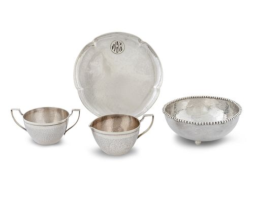 Four American Hand Wrought Silver Articles Diameter of tray, 7 1/4 inches.