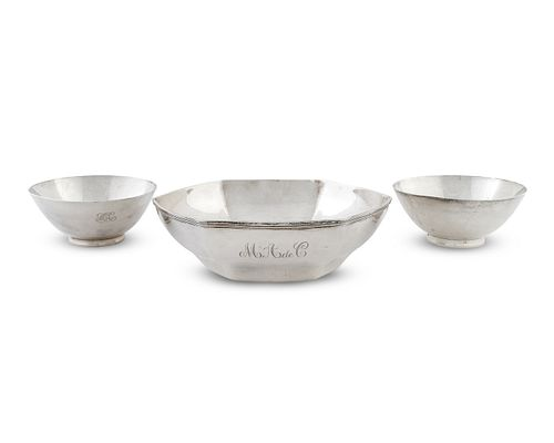 Three American Silver Bowls Diameter of larger 9 inches.