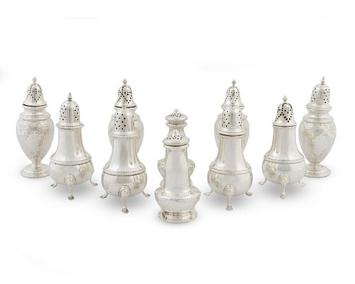 Ten American Silver Standing Salt and Peppers Height of tallest 5 1/2 inches.