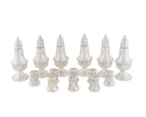 A Group of American Silver Salt and Peppers Height of taller 4 1/2 inches.