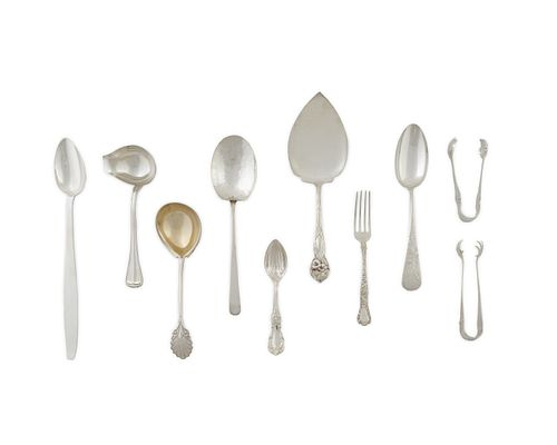 A Large Group of Miscellaneous Silver Length of largest, 11 3/8 inches.