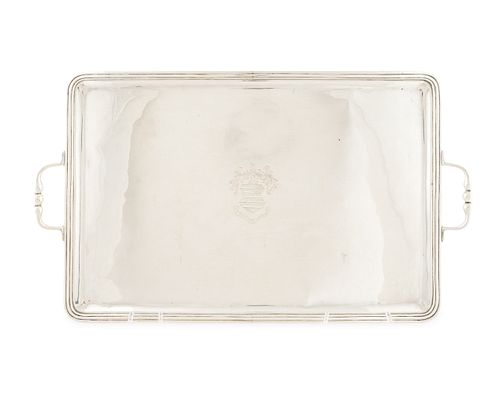 A Mexican Silver Two-Handle Serving Tray length over handles, 23 3/4 inches.