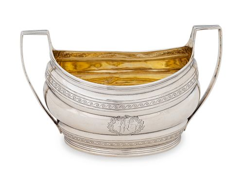 A George III Silver Open Sugar Height 4 1/4 x width 7 x depth 4 inches.