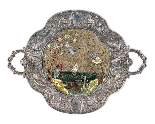 A French Silvered Bronze and Enamel Two-Handled Tray Height 2 1/2 x length over handles  13 inches.