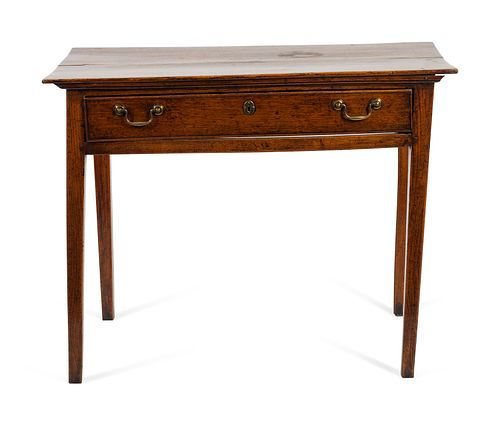 A George II Provincial Oak Side Table Height 28 x length 36 x depth 20 1/2 inches.