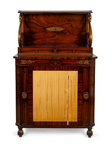 A Pair of Regency Style Rosewood Chiffonieres Height 55 1/2 x width 36 x depth 17 inches.