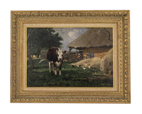 William Henry Howe (American, 1846-1929) European Farmyard with Cows and Chickens