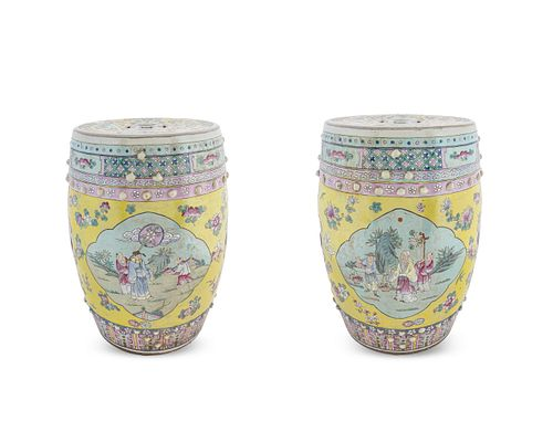 A Pair of Chinese Porcelain Garden Seats Height 19 1/2 x diameter 12 inches.