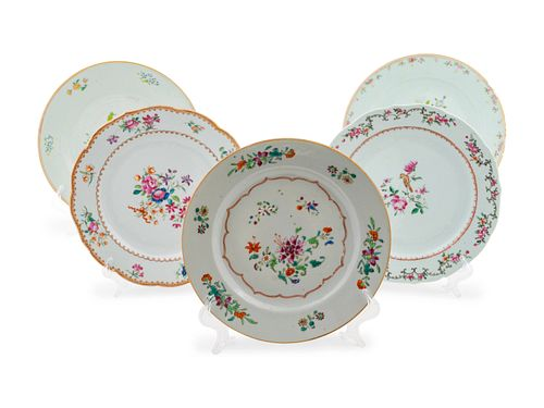 Thirty Chinese Export Famille Rose Cabinet Plates Diameter 9 inches.