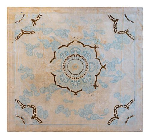 An Unusual Indian Cotton Carpet of Chinese Design 9 feet 4 inches x 8 feet 6 inches.