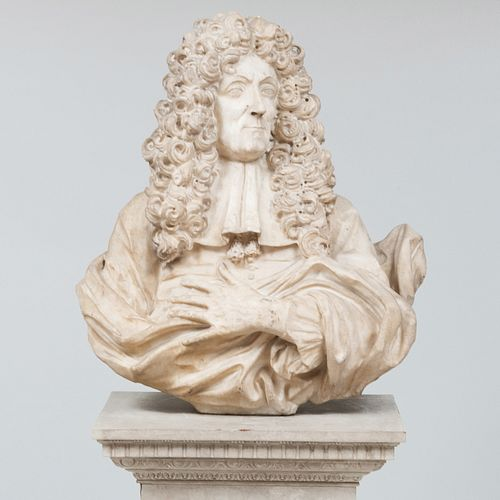 Large North Italian Baroque Marble Bust of a Gentleman, Possibly Giacomo A. Ponsonelli